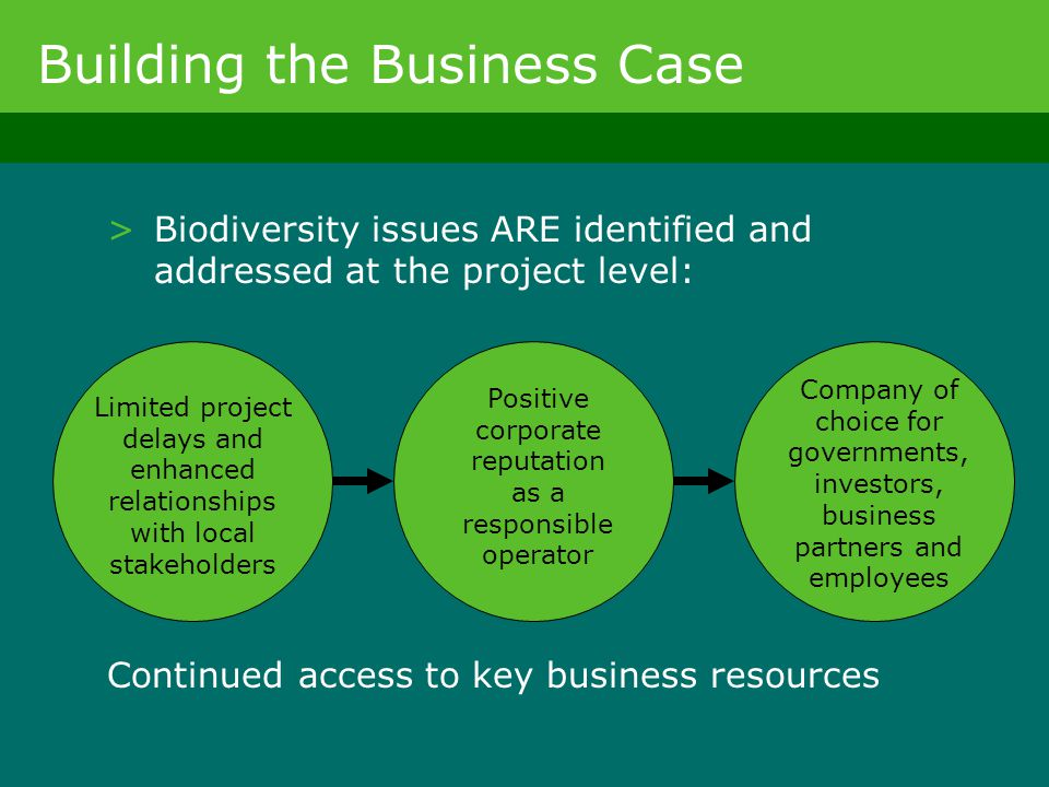 >Biodiversity issues ARE identified and addressed at the project level: Limited project delays and enhanced relationships with local stakeholders Posi