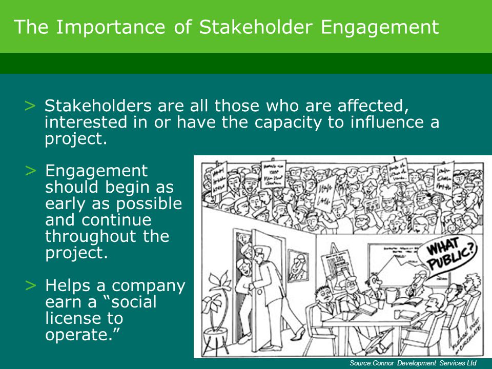 > Stakeholders are all those who are affected, interested in or have the capacity to influence a project. The Importance of Stakeholder Engagement > E