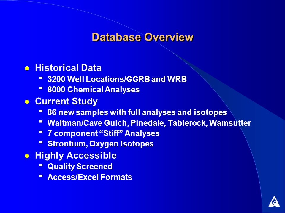 Database Overview Historical Data 3200 Well Locations/GGRB and WRB 8000 Chemical Analyses Current Study 86 new samples with full analyses and isotopes Waltman/Cave Gulch, Pinedale, Tablerock, Wamsutter 7 component Stiff Analyses Strontium, Oxygen Isotopes Highly Accessible Quality Screened Access/Excel Formats
