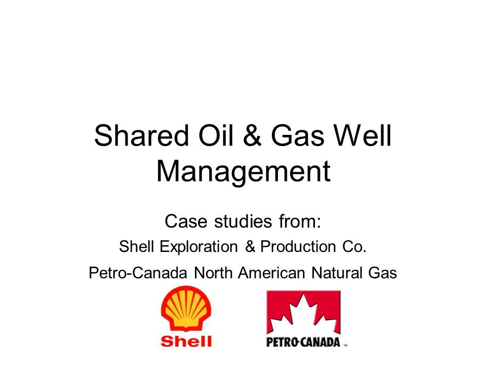 Shared Oil & Gas Well Management Case studies from: Shell Exploration & Production Co.
