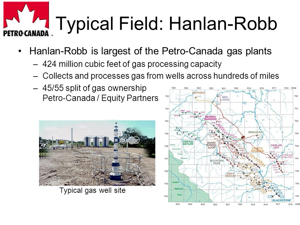 Hanlan-Robb is largest of the Petro-Canada gas plants –424 million cubic feet of gas processing capacity –Collects and processes gas from wells across hundreds of miles –45/55 split of gas ownership Petro-Canada / Equity Partners Typical Field: Hanlan-Robb Typical gas well site