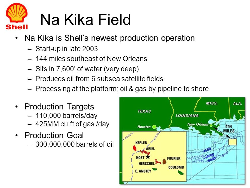 Na Kika is Shells newest production operation –Start-up in late 2003 –144 miles southeast of New Orleans –Sits in 7,600 of water (very deep) –Produces oil from 6 subsea satellite fields –Processing at the platform; oil & gas by pipeline to shore Production Targets –110,000 barrels/day –425MM cu.ft of gas /day Production Goal –300,000,000 barrels of oil Na Kika Field