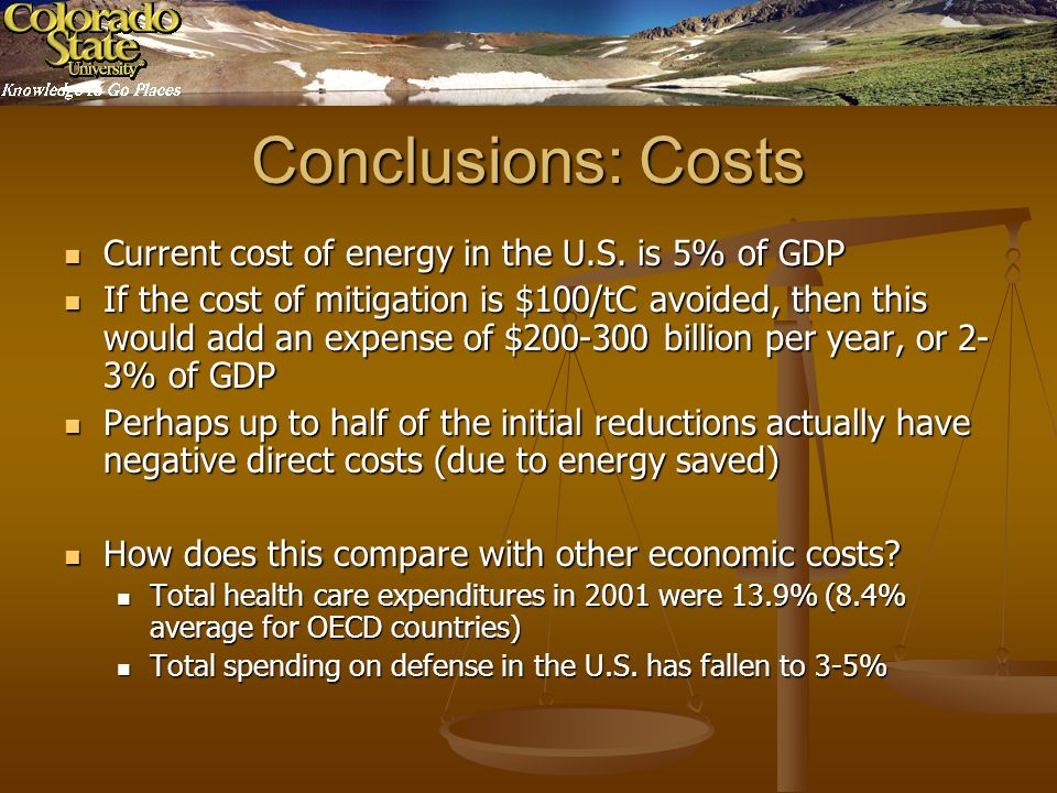 Conclusions: Costs Current cost of energy in the U.S.
