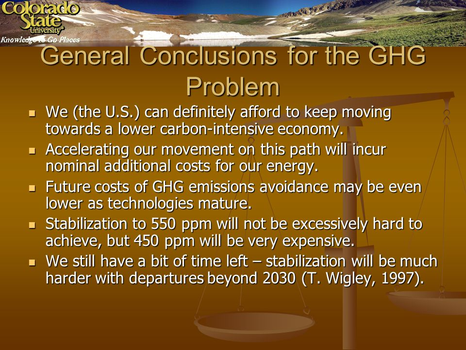 General Conclusions for the GHG Problem We (the U.S.) can definitely afford to keep moving towards a lower carbon-intensive economy.