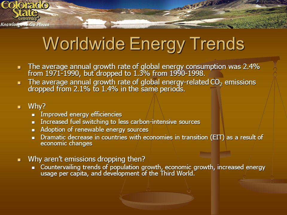 Worldwide Energy Trends The average annual growth rate of global energy consumption was 2.4% from 1971-1990, but dropped to 1.3% from 1990-1998.