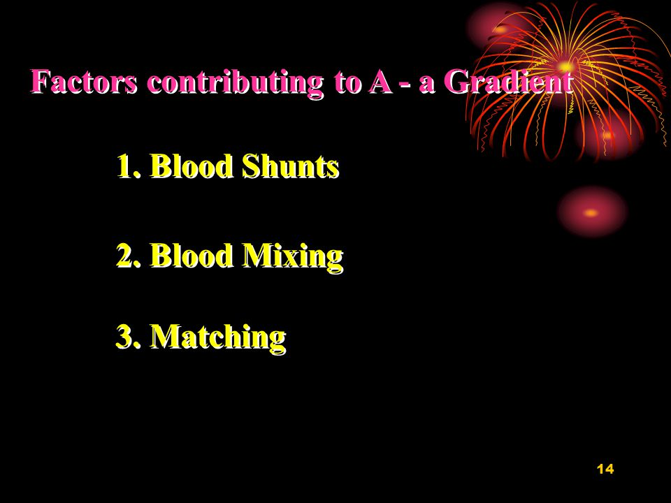 14 Factors contributing to A - a Gradient 1.Blood Shunts 2.Blood Mixing 3.Matching 1.Blood Shunts 2.Blood Mixing 3.Matching