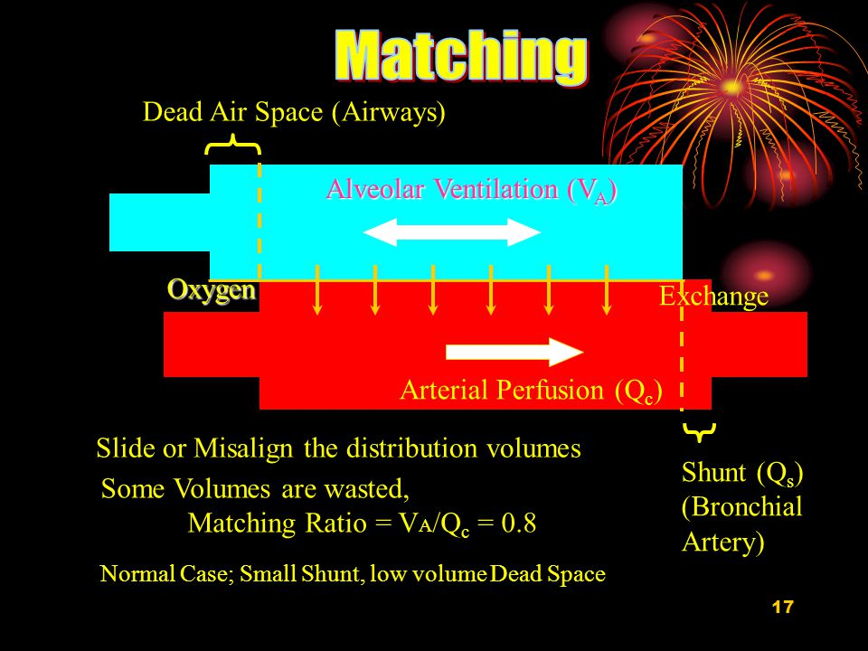 17 Arterial Perfusion (Q c ) Slide or Misalign the distribution volumes Alveolar Ventilation (V A ) ExchangeOxygen Dead Air Space (Airways) Shunt (Q s ) (Bronchial Artery) Some Volumes are wasted, Matching Ratio = V A /Q c = 0.8 Normal Case; Small Shunt, low volume Dead Space