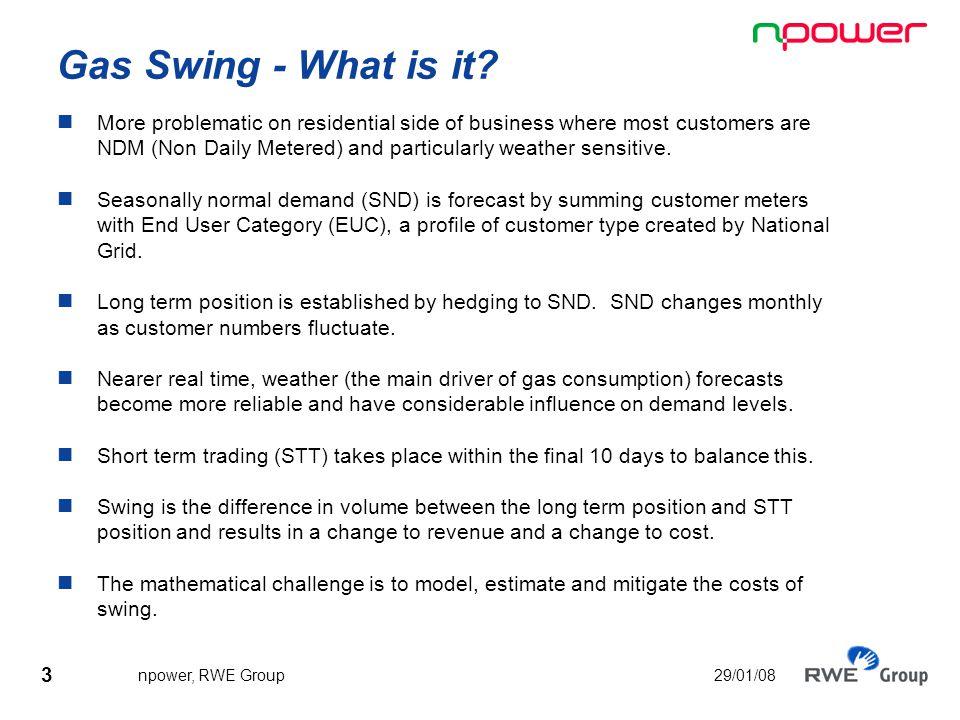4 npower, RWE Group 29/01/08 Gas Swing – change in volume