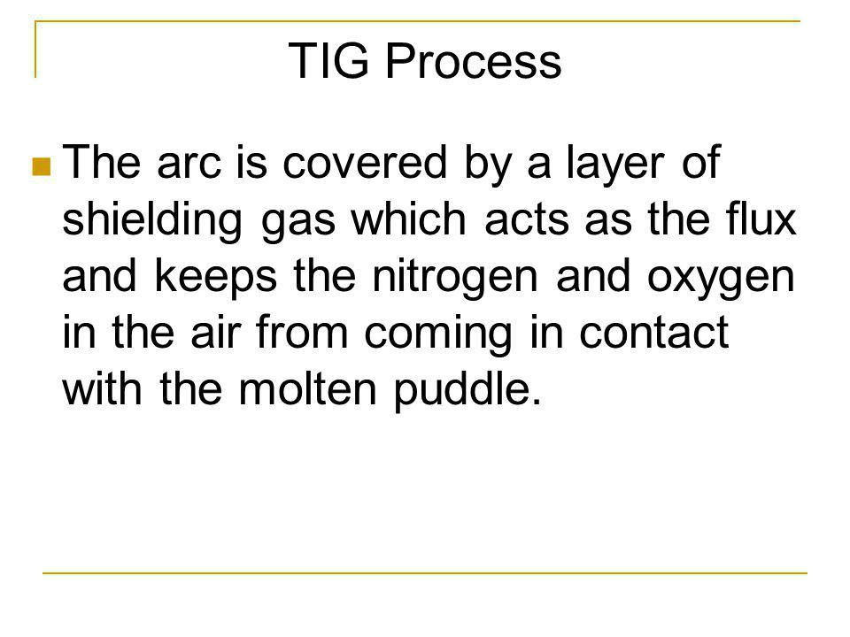 TIG Process The arc is covered by a layer of shielding gas which acts as the flux and keeps the nitrogen and oxygen in the air from coming in contact