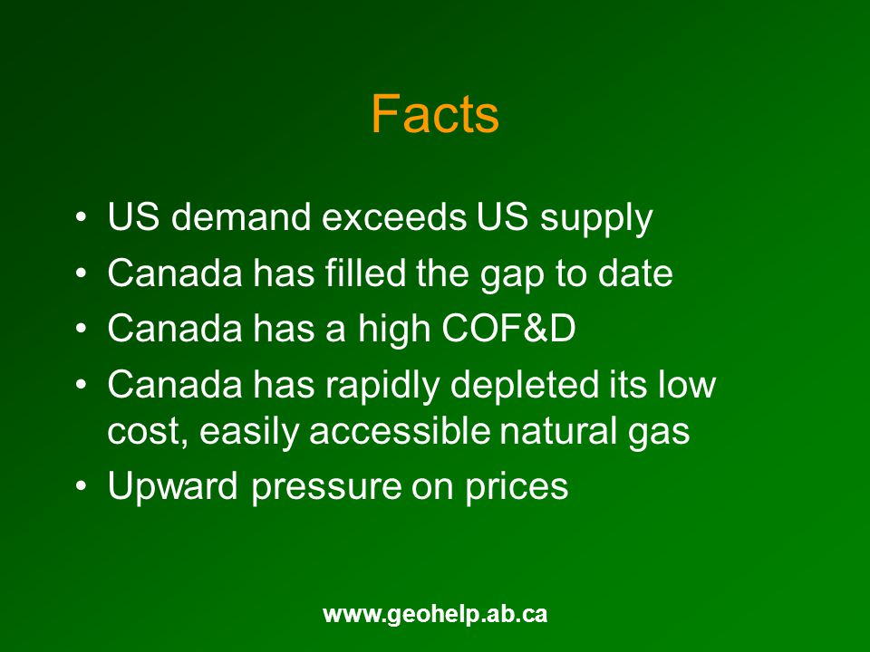 www.geohelp.ab.ca Facts US demand exceeds US supply Canada has filled the gap to date Canada has a high COF&D Canada has rapidly depleted its low cost