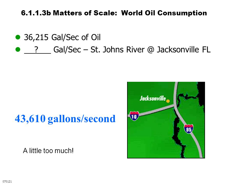 6.1.1.3b Matters of Scale: World Oil Consumption 36,215 Gal/Sec of Oil ? Gal/Sec – St. Johns River @ Jacksonville FL 43,610 gallons/second 070121 A li