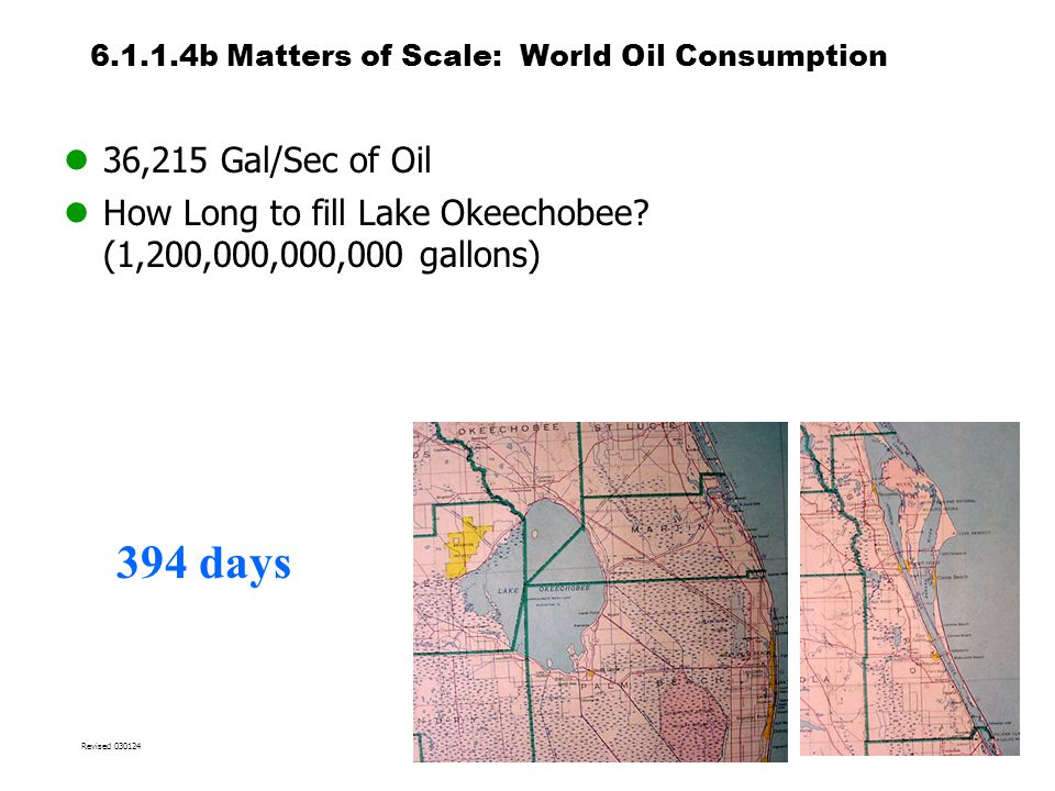 6.1.1.4b Matters of Scale: World Oil Consumption 36,215 Gal/Sec of Oil How Long to fill Lake Okeechobee.