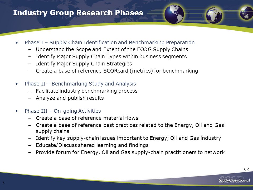 Industry Group Research Phases Phase I – Supply Chain Identification and Benchmarking Preparation –Understand the Scope and Extent of the EO&G Supply