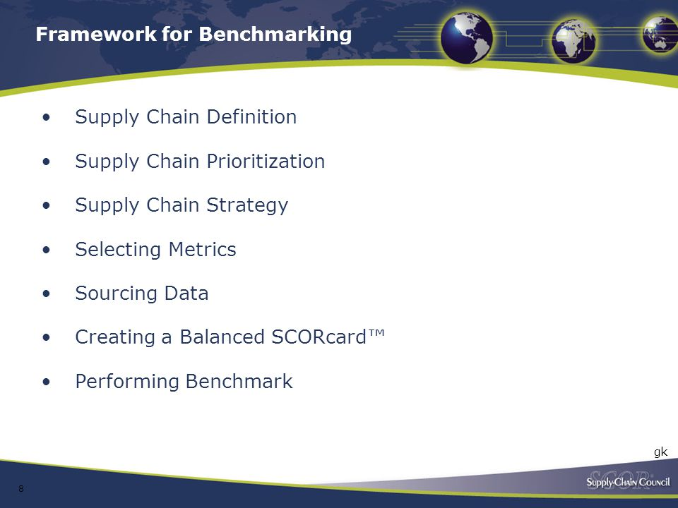 Framework for Benchmarking Supply Chain Definition Supply Chain Prioritization Supply Chain Strategy Selecting Metrics Sourcing Data Creating a Balanc