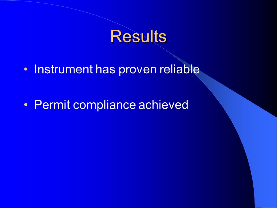Results Instrument has proven reliable Permit compliance achieved