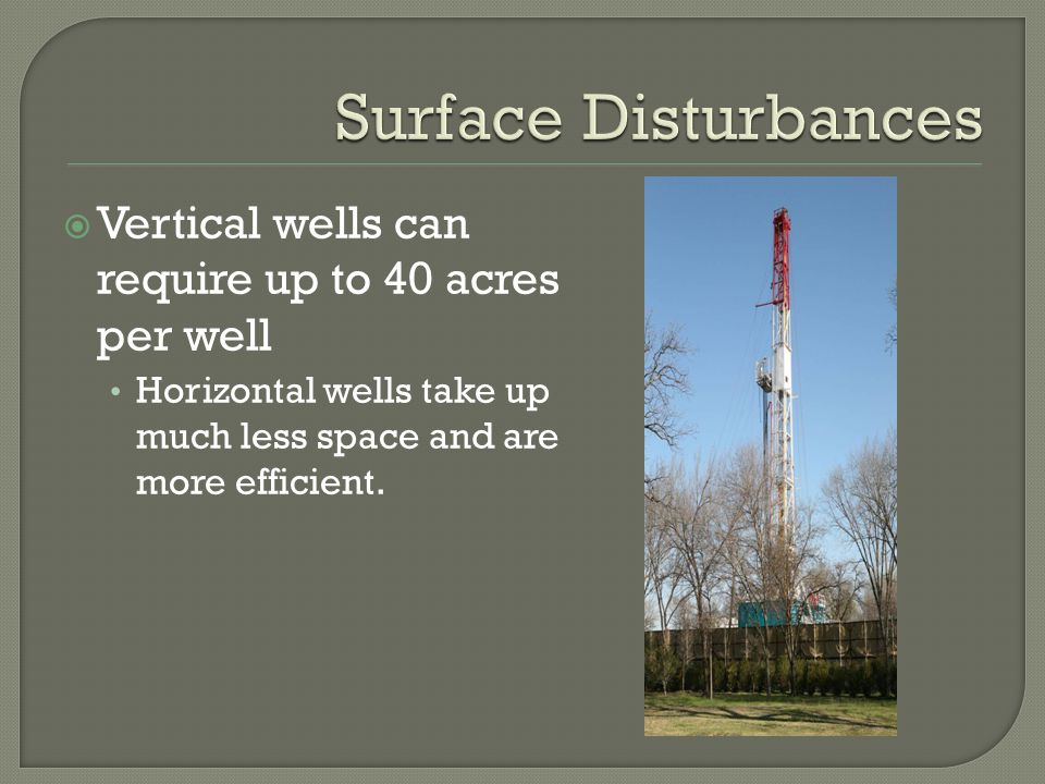 Vertical wells can require up to 40 acres per well Horizontal wells take up much less space and are more efficient.