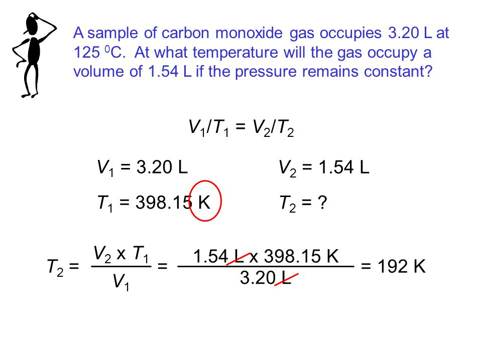 A sample of carbon monoxide gas occupies 3.20 L at 125 0 C.