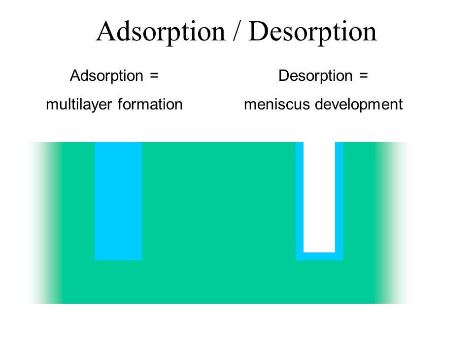 Adsorption / Desorption Adsorption = multilayer formation Desorption = meniscus development