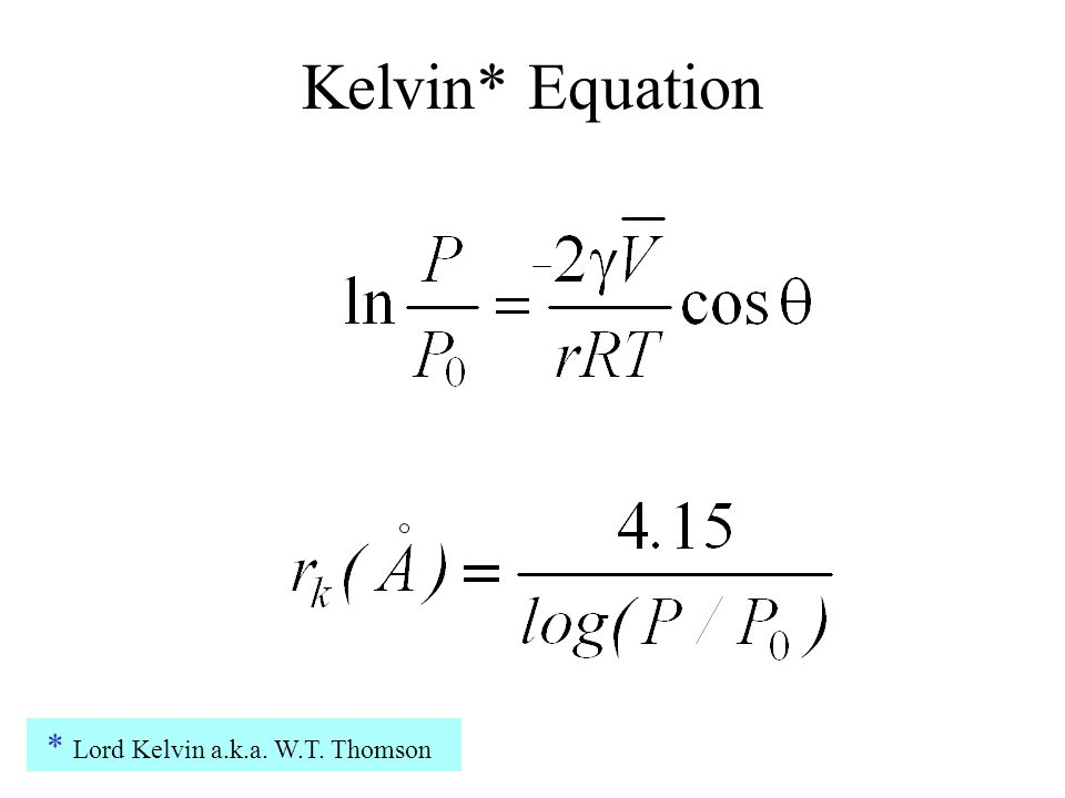 Kelvin* Equation * Lord Kelvin a.k.a. W.T. Thomson