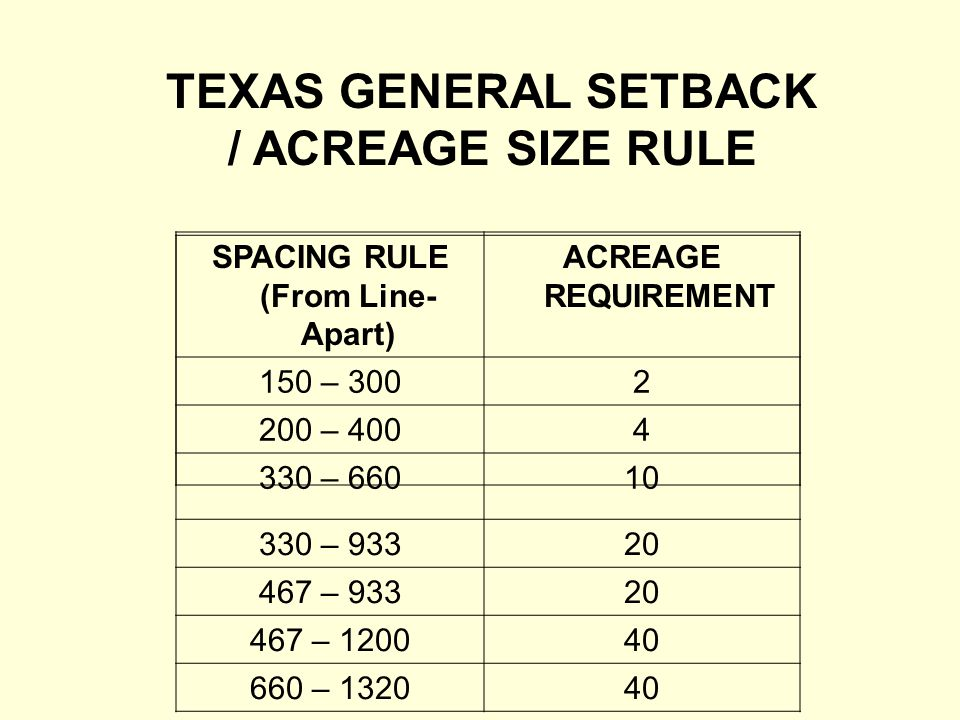 SPACING RULE (From Line- Apart) ACREAGE REQUIREMENT 150 – 3002 200 – 4004 330 – 66010 330 – 93320 467 – 93320 467 – 120040 660 – 132040 TEXAS GENERAL