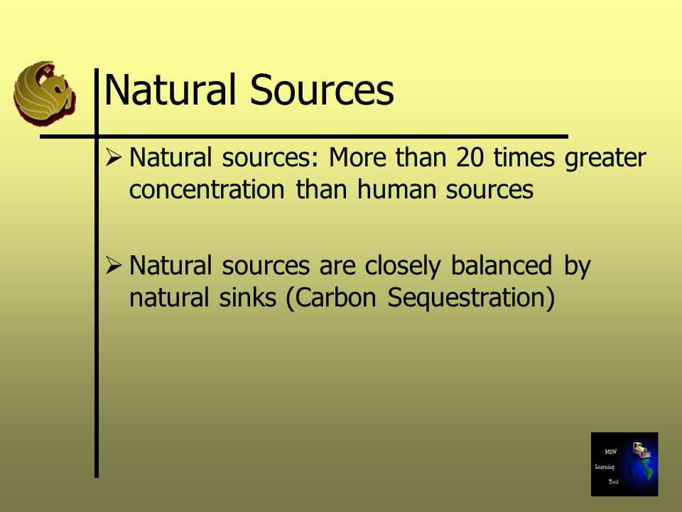 Natural Sources Natural sources: More than 20 times greater concentration than human sources Natural sources are closely balanced by natural sinks (Carbon Sequestration)