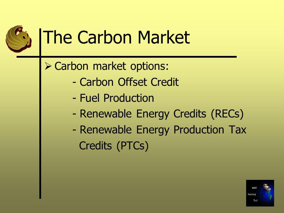 Carbon market options: - Carbon Offset Credit - Fuel Production - Renewable Energy Credits (RECs) - Renewable Energy Production Tax Credits (PTCs)
