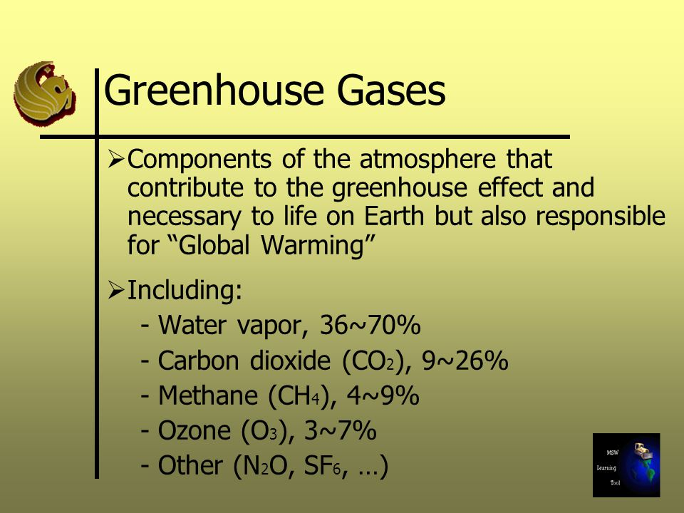 Greenhouse Gases Components of the atmosphere that contribute to the greenhouse effect and necessary to life on Earth but also responsible for Global Warming Including: - Water vapor, 36~70% - Carbon dioxide (CO 2 ), 9~26% - Methane (CH 4 ), 4~9% - Ozone (O 3 ), 3~7% - Other (N 2 O, SF 6, …)