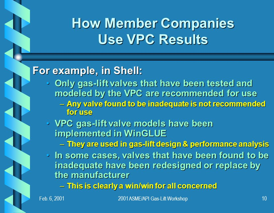 Feb. 6, 20012001 ASME/API Gas-Lift Workshop10 How Member Companies Use VPC Results For example, in Shell: Only gas-lift valves that have been tested a