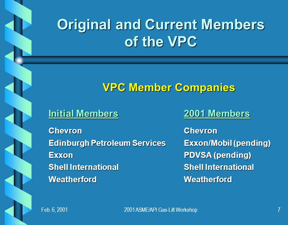 Feb. 6, 20012001 ASME/API Gas-Lift Workshop7 Original and Current Members of the VPC VPC Member Companies Initial Members2001 Members ChevronChevron E