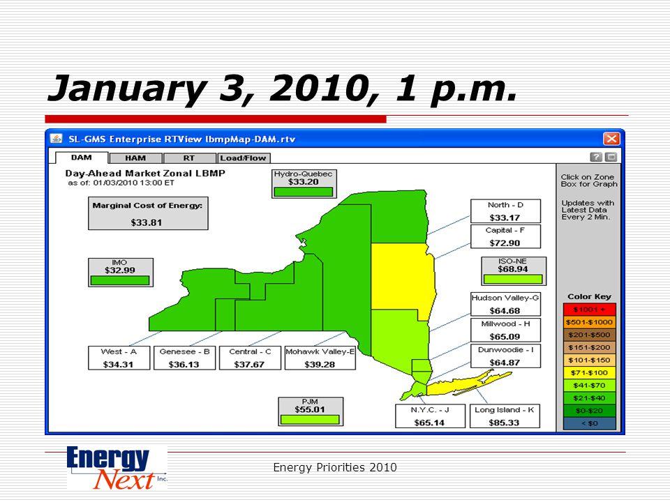 Energy Priorities 2010 January 3, 2010, 1 p.m.