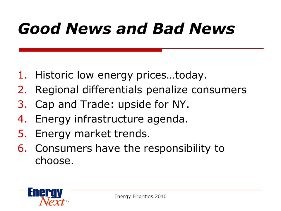 Energy Priorities 2010 Good News and Bad News 1.Historic low energy prices…today.