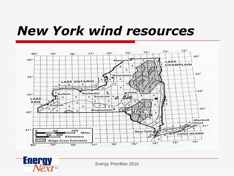 Energy Priorities 2010 New York wind resources