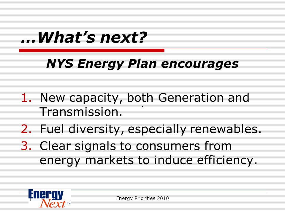 Energy Priorities 2010 …Whats next.