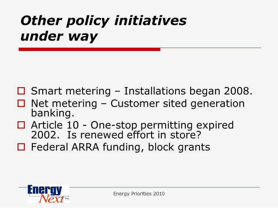 Energy Priorities 2010 Other policy initiatives under way Smart metering – Installations began 2008.