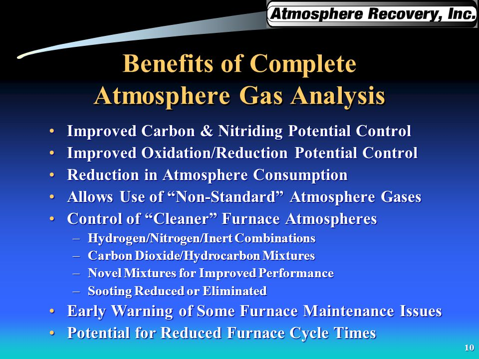 10 Benefits of Complete Atmosphere Gas Analysis Improved Carbon & Nitriding Potential ControlImproved Carbon & Nitriding Potential Control Improved Ox