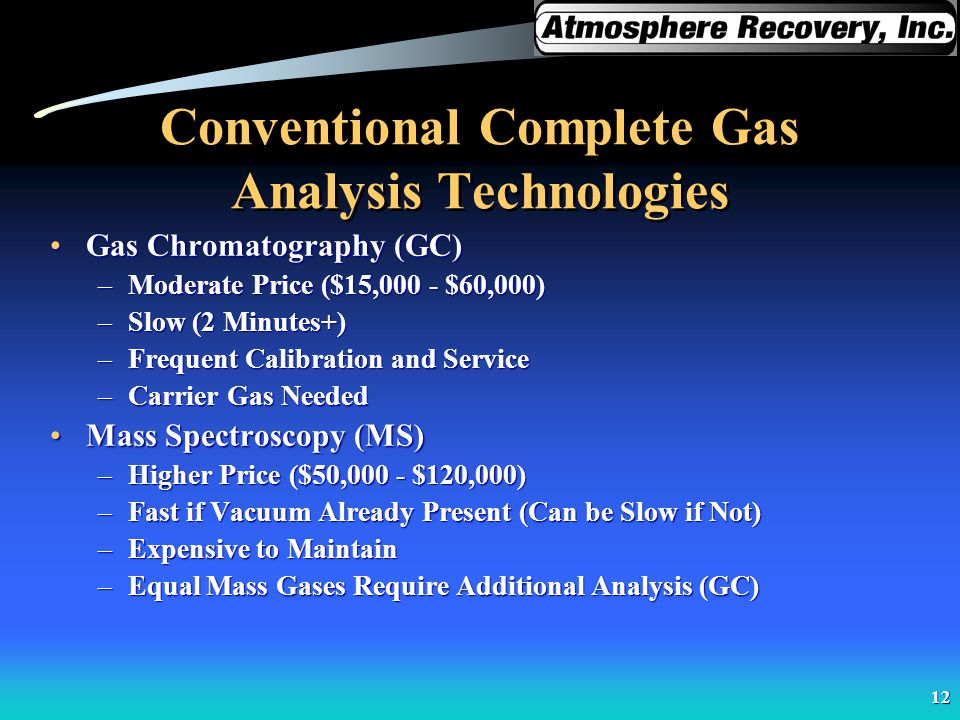 12 Conventional Complete Gas Analysis Technologies Gas Chromatography (GC)Gas Chromatography (GC) –Moderate Price ($15,000 - $60,000) –Slow (2 Minutes