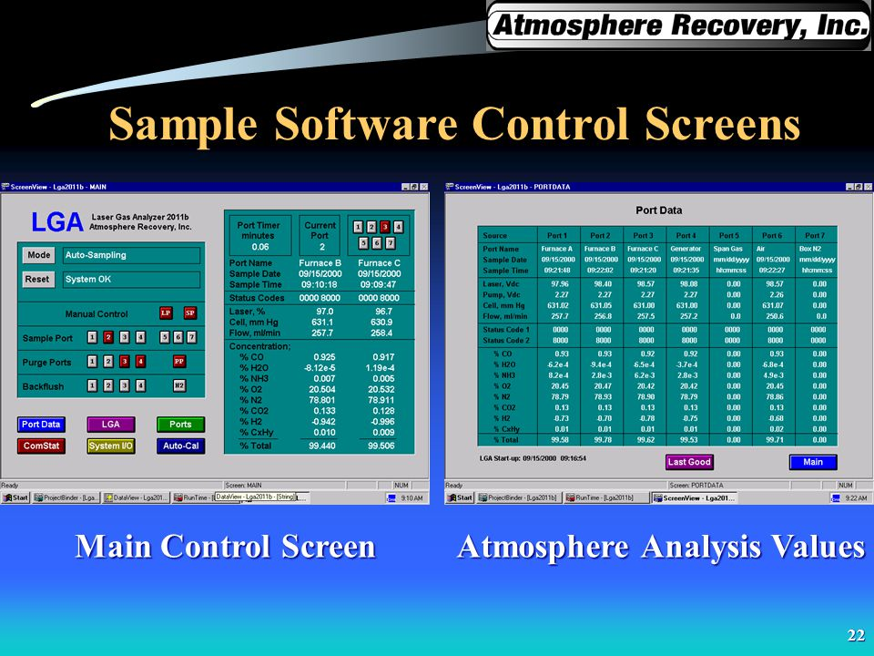 22 Sample Software Control Screens Main Control Screen Atmosphere Analysis Values