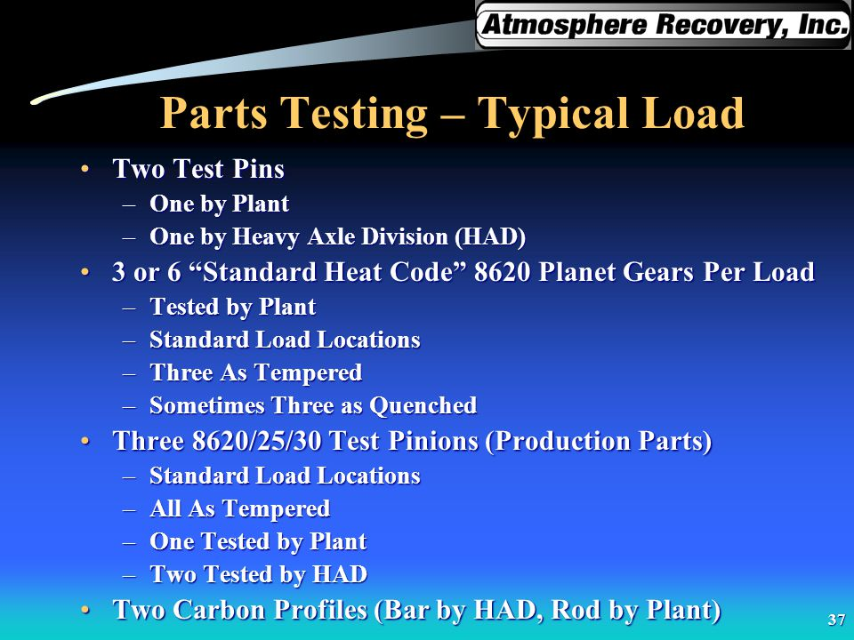 37 Parts Testing – Typical Load Two Test PinsTwo Test Pins –One by Plant –One by Heavy Axle Division (HAD) 3 or 6 Standard Heat Code 8620 Planet Gears