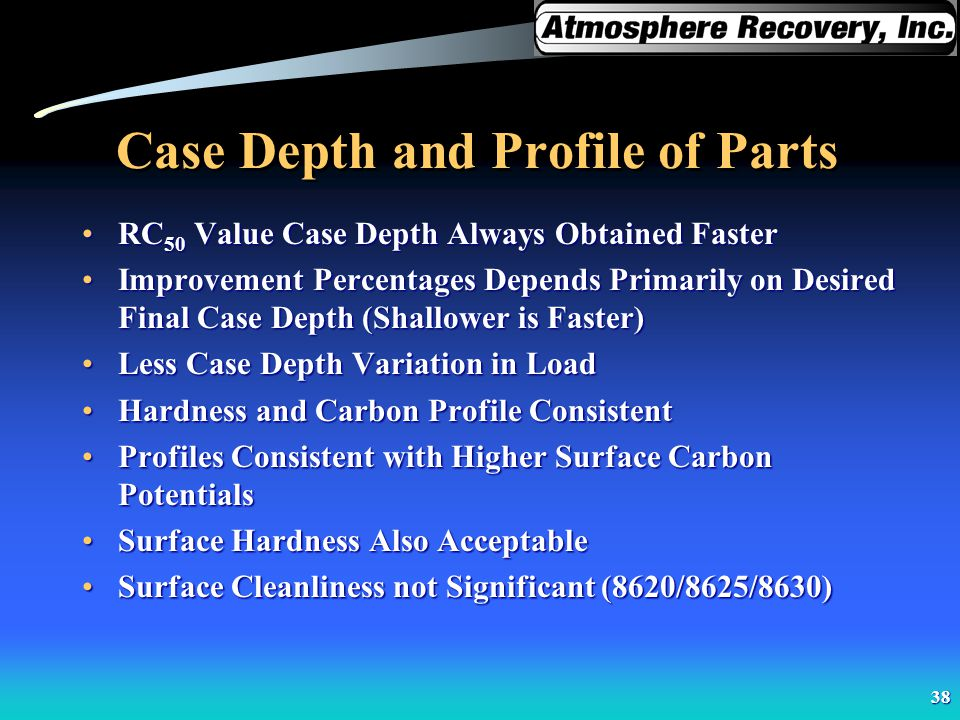 38 Case Depth and Profile of Parts RC 50 Value Case Depth Always Obtained FasterRC 50 Value Case Depth Always Obtained Faster Improvement Percentages