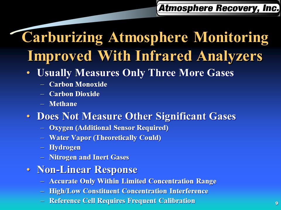 9 Carburizing Atmosphere Monitoring Improved With Infrared Analyzers Usually Measures Only Three More GasesUsually Measures Only Three More Gases –Car