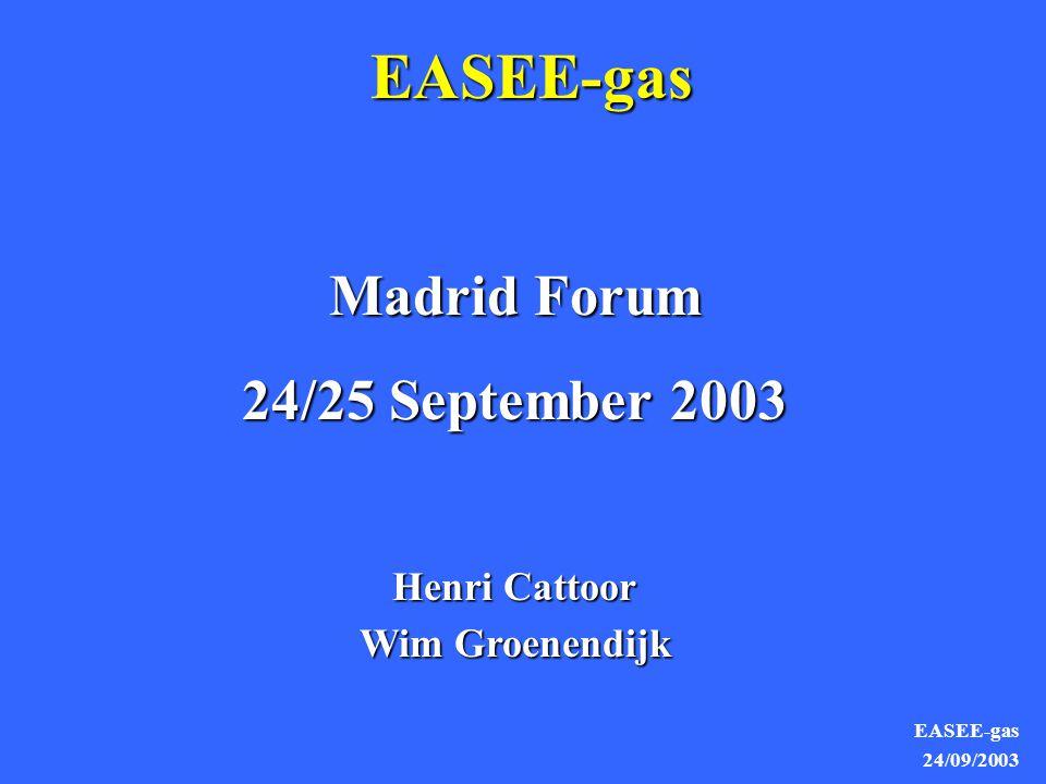 EASEE-gas 24/09/2003 EASEE-gas Madrid Forum 24/25 September 2003 Henri Cattoor Wim Groenendijk
