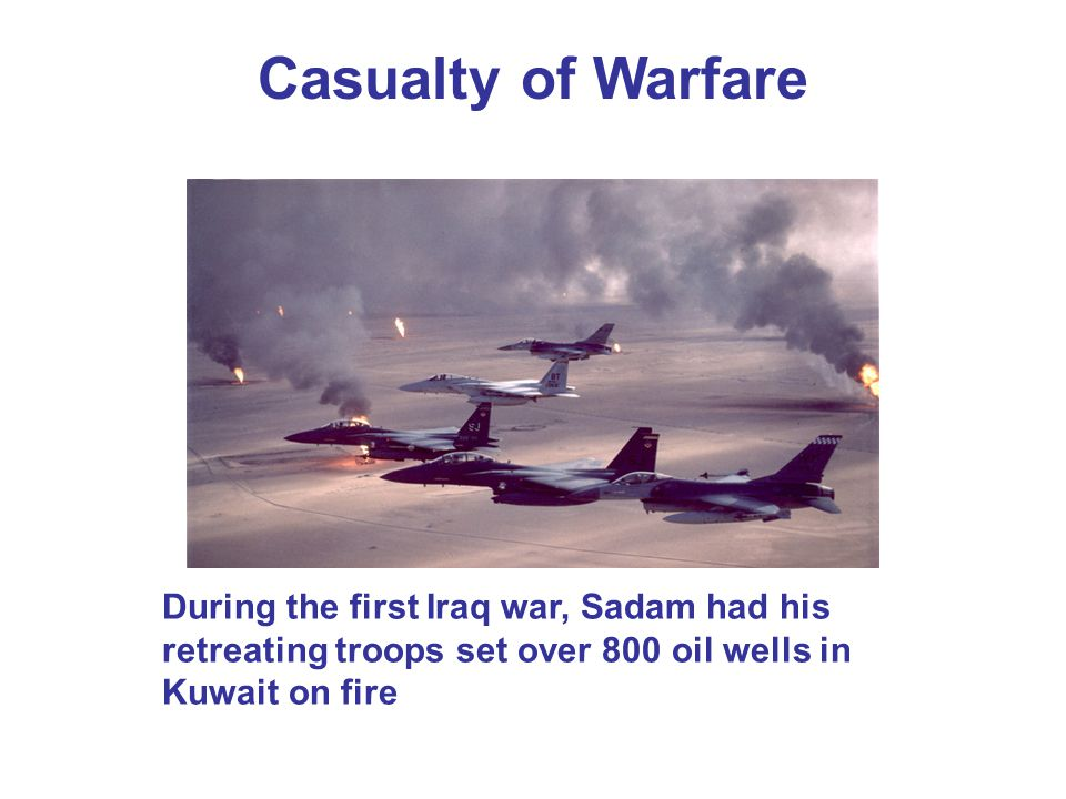 Casualty of Warfare During the first Iraq war, Sadam had his retreating troops set over 800 oil wells in Kuwait on fire