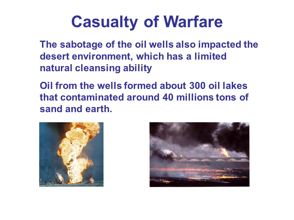 Casualty of Warfare The sabotage of the oil wells also impacted the desert environment, which has a limited natural cleansing ability Oil from the wells formed about 300 oil lakes that contaminated around 40 millions tons of sand and earth.