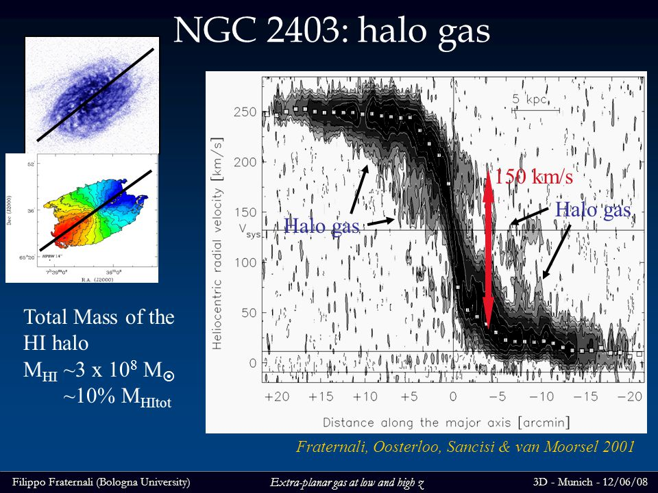 Filippo Fraternali (Bologna University)3D - Munich - 12/06/08 Extra-planar gas at low and high z NGC 2403: halo gas Halo gas 150 km/s Fraternali, Oosterloo, Sancisi & van Moorsel 2001 Halo gas Total Mass of the HI halo M HI ~3 x 10 8 M ~10% M HItot