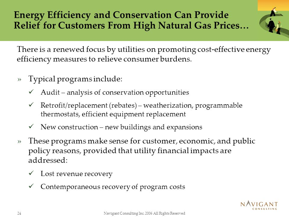 24Navigant Consulting Inc. 2006 All Rights Reserved Energy Efficiency and Conservation Can Provide Relief for Customers From High Natural Gas Prices…