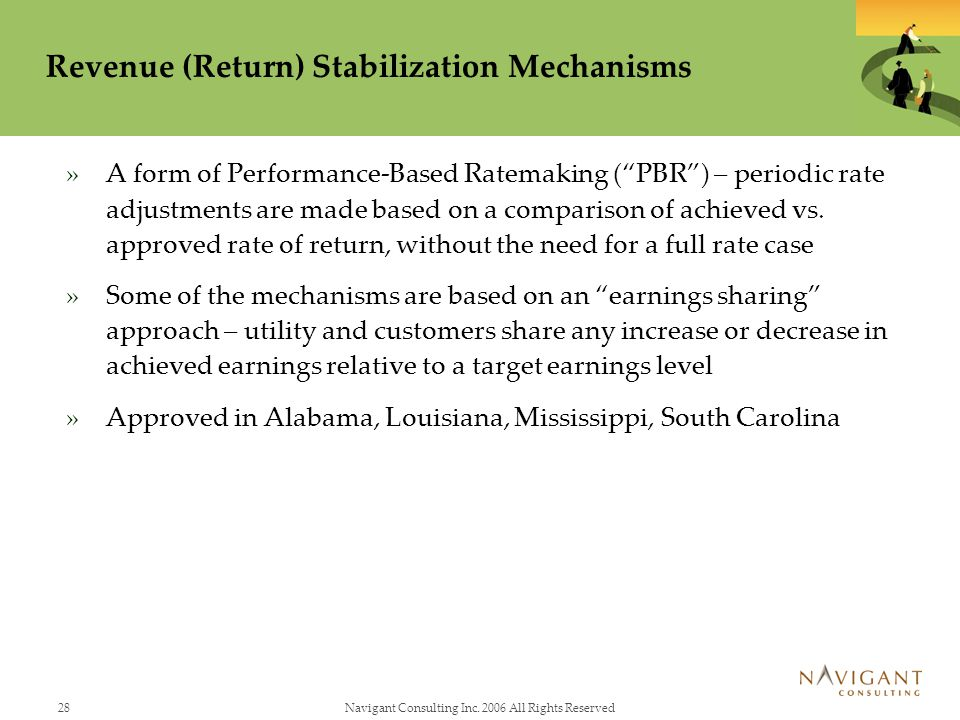28Navigant Consulting Inc. 2006 All Rights Reserved Revenue (Return) Stabilization Mechanisms »A form of Performance-Based Ratemaking (PBR) – periodic