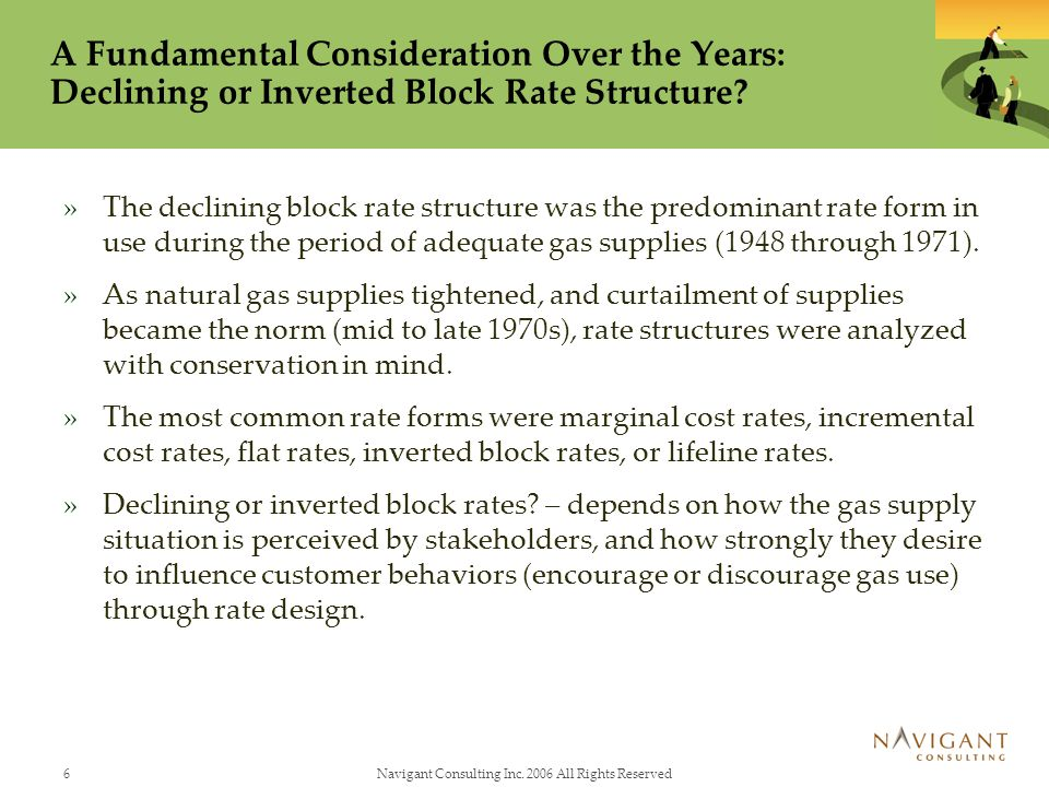 6Navigant Consulting Inc. 2006 All Rights Reserved A Fundamental Consideration Over the Years: Declining or Inverted Block Rate Structure? »The declin
