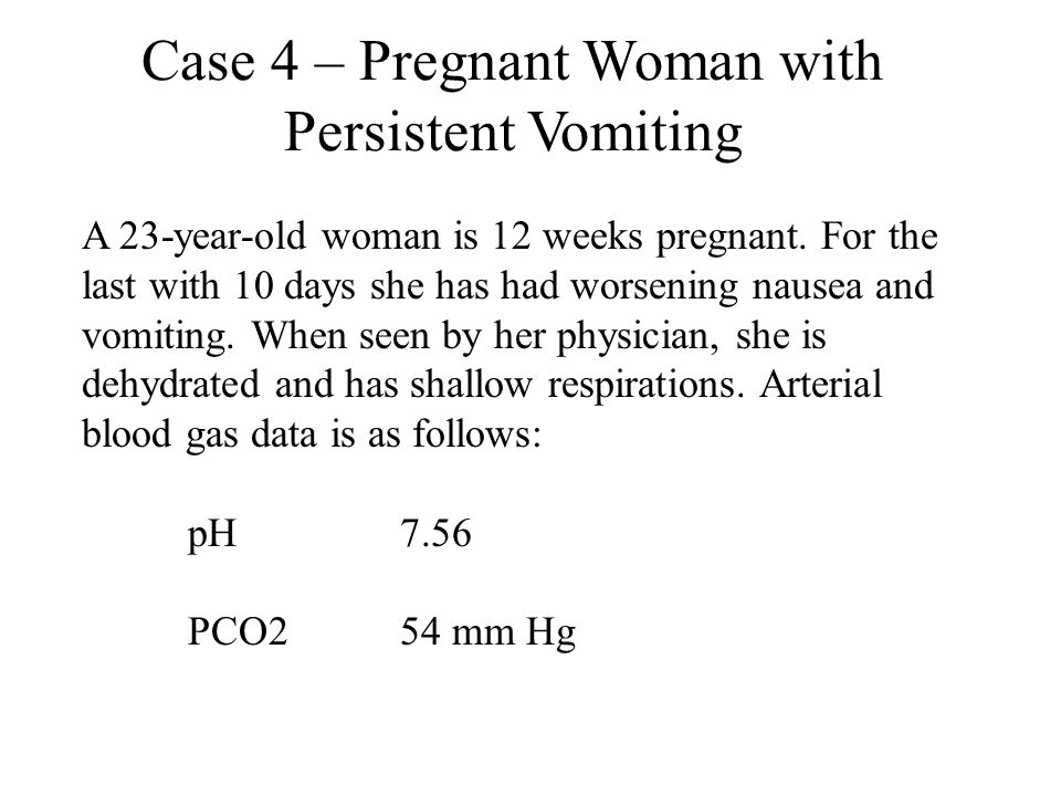 A 23-year-old woman is 12 weeks pregnant. For the last with 10 days she has had worsening nausea and vomiting. When seen by her physician, she is dehy