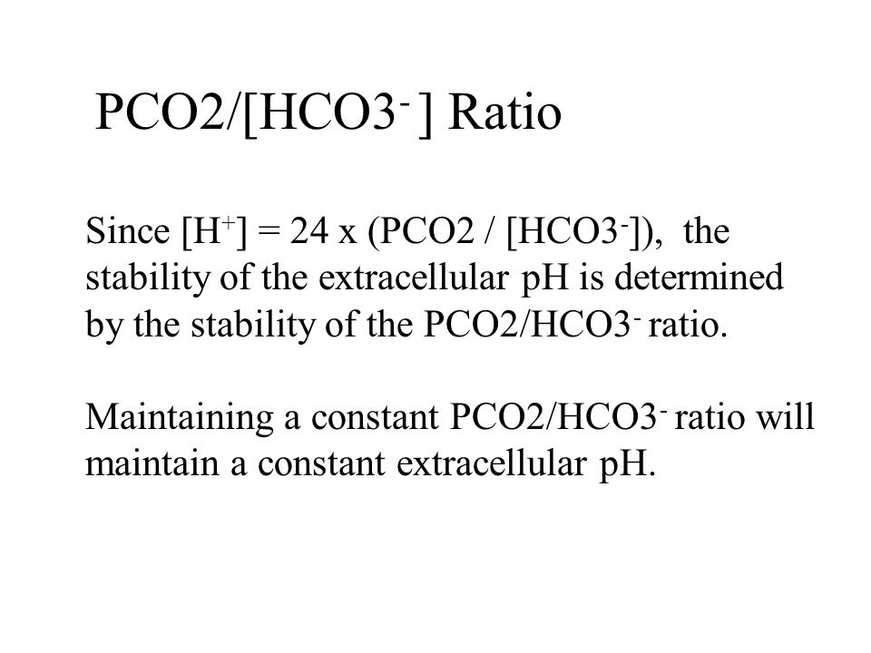 PCO2/[HCO3 - ] Ratio Since [H + ] = 24 x (PCO2 / [HCO3 - ]), the stability of the extracellular pH is determined by the stability of the PCO2/HCO3 - r