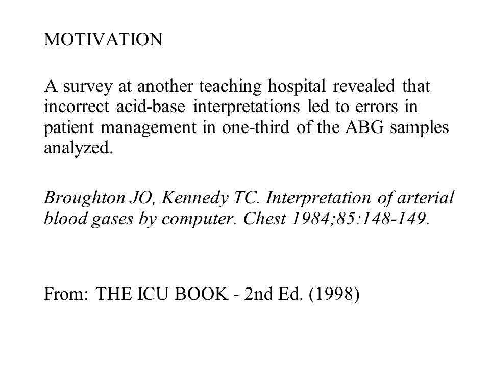 MOTIVATION A survey at another teaching hospital revealed that incorrect acid-base interpretations led to errors in patient management in one-third of